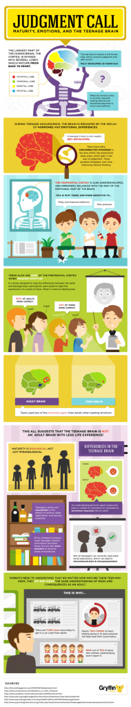 THE DIFFERENCE BETWEEN ADULT AND TEENAGE BRAIN: Click on image to enlarge. Source: Gryffin Media