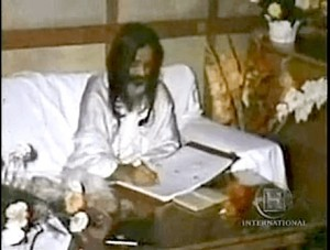 A scene from the documentary: Maharishi working on the translation and commentary of the Bhagavad Gita